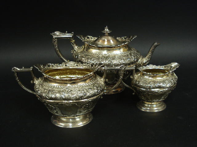 A Victorian silver three piece tea service by James Dixon & Sons, Sheffield 1897  (3)