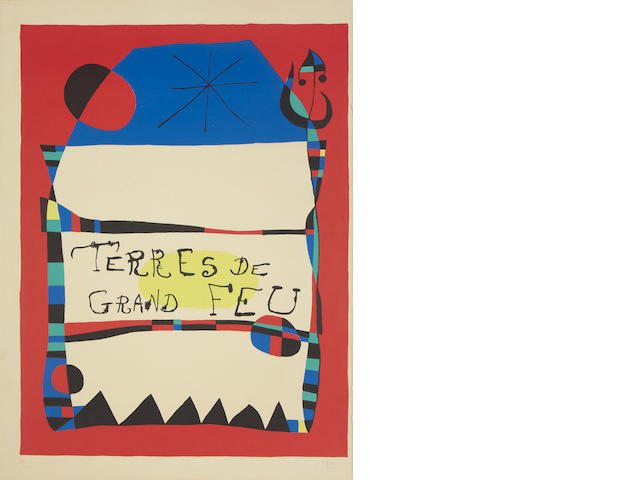 Joan Miró (Spanish, 1893-1983) Terres de Grand Feu Lithograph in colours, 1956, on Arches, signed and numbered 34/200 in pencil, printed by Mourlot, published by Maeght Paris, 759 x 556mm (29 7/8 x 21 7/8in)(SH) unframed