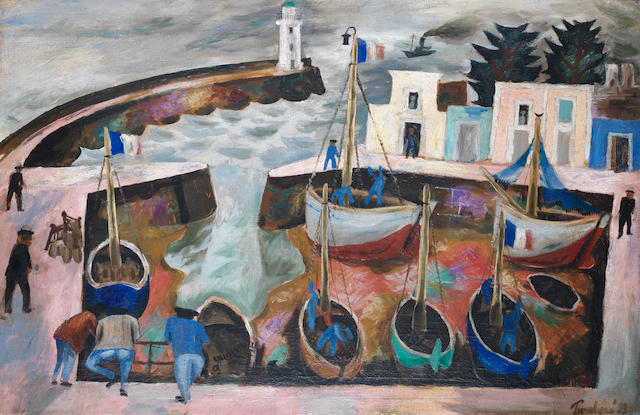 Julian Trevelyan R.A. (British, 1910-1988) The Harbour 65 x 100 cm. (25 5/8 x 39 3/8 in.)