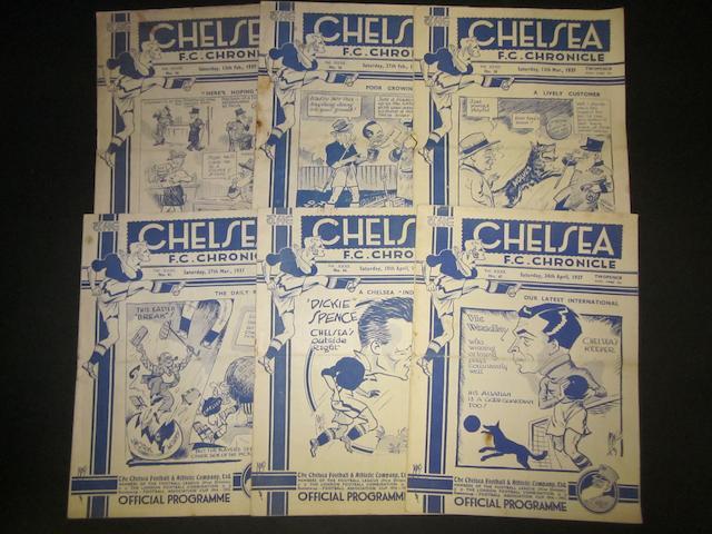 1936/37, 1937/38 Chelsea home programmes