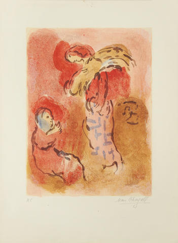 Marc Chagall (Russian/French, 1887-1985) Ruth Gleaning, from Drawings for the Bible Lithograph printed in colours, 1960, on Arches, signed and inscribed H.C. in pencil, one of 10 hors commerce proofs aside from the numbered edition of 50, printed by Mourlot, Paris, published by Verve, paris, with full margins, 525 x 380mm (20 5/8 x 15in)(SH) unframed