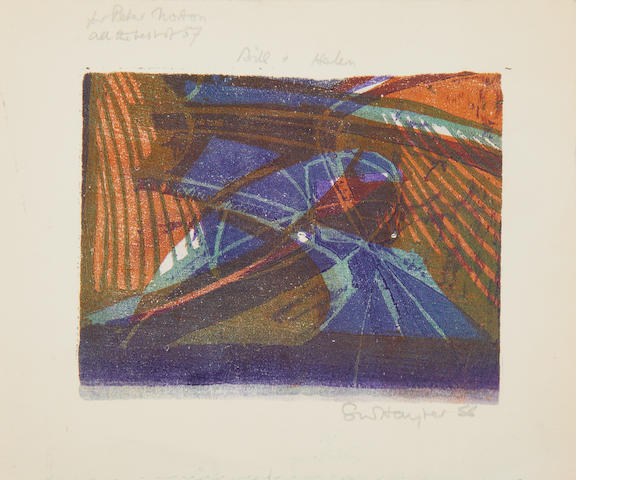 Stanley William Hayter (British, 1901-1988) Greeting Card for 1956-7 Linocut printed in green, orange and violet, 1956, one wove, signed and dated in pencil, dedicated 'for [Lady] Peter Norton' and inscribed 'all the best for 57, Bill & Helen' in pencil, from the edition of approximately 100, 115 x 145mm (4 1/2 x 5 3/4in)(B) unframed