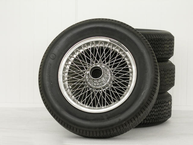 A set of four Borrani spoked wire wheels to suit Aston Martin DBR1,,