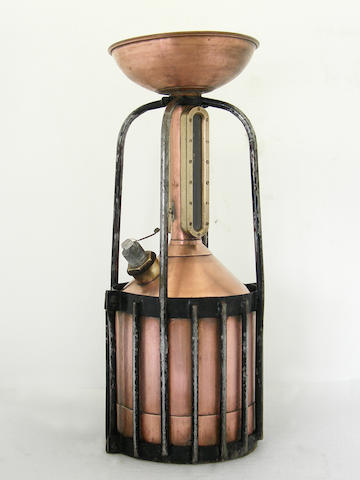 A large copper fuel measuring can with funnel, 1920s,