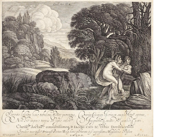 Jacob Symonsz Pynas (Haarlem 1585-1648) Salmacis and Hermaphroditus Engraving, 1623, by Magdalena Palsea,  on laid, 200 x 225mm (7 7/8 x 8 7/8in)(PL)