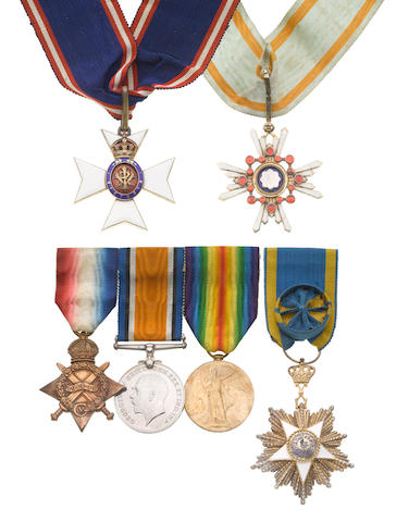 A C.V.O. group of six to Surgeon Commander A.C.W.Newport, Royal Navy,