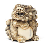 An ivory netsuke of a shishi Kyoto, late 18th century