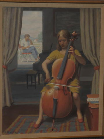 Fermin Rocker (American, 1907-2004) Girl Playing a Cello