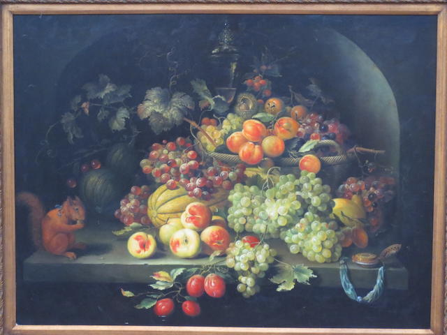 Flemish School, 20th Century Still Life with Fruit and Squirrel
