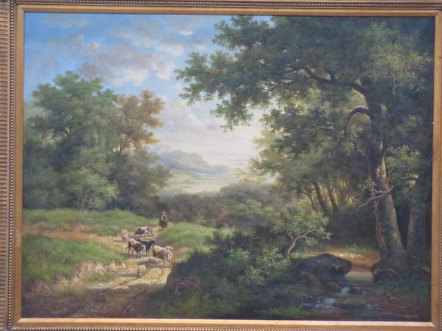 English School, 20th Century A Rural Landscape with Cattle