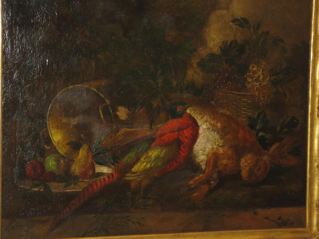French School, 19th Century Stll Life with Rabbit, Pheasant and Fruit