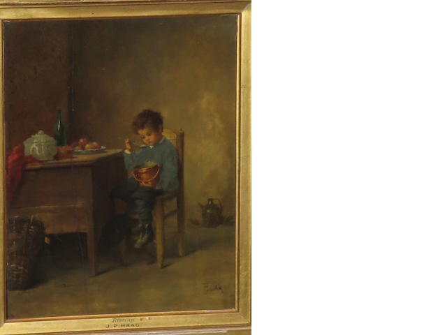 Jean-Paul Haag (French, 1854-1906) Boy Eating from Copper Pan