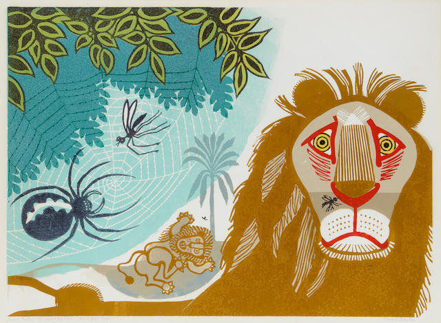 Edward Bawden R.A. (British, 1903-1989) Aesop's Fables: The Gnat and The Lion (MG.90) Linocut printed in colours, 1970, on wove, signed, titled and inscribed 'Artist's Proof 16/50', with full margins, 408 x 557mm (16 x 22in)(B)