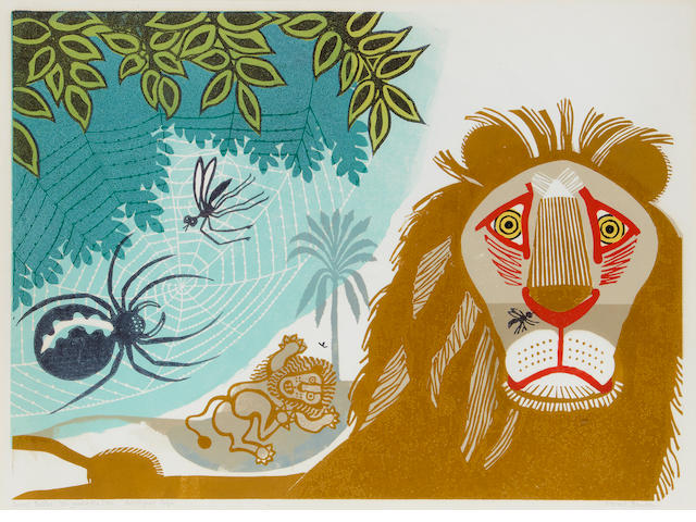 Edward Bawden R.A. (British, 1903-1989) Aesop's Fables: The Gnat and The Lion colour linocut, signed, titled and inscribed 'Artist's Proof 16/50', with full margins, 408 x 557mm (16 x 22in)(B)