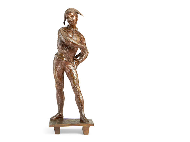 Emile Laporte, French (1858-1907)  A bronze model of a harlequin