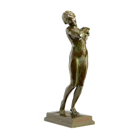 A bronze figure of a nude dancersigned and dated H. Brownsword 1924