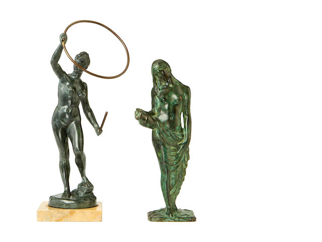 Two early 20th century bronze figures of nudes