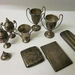 A silver three division cigar case,  Birmimgham 1919,   (Qty)