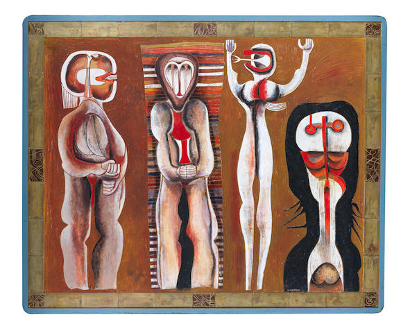 Cecil Skotnes, Icon for Makana, On the island, carved wood panel, metal and polychrome paint, 1992, 82 by 122 cm. Icon for Makana, On the island