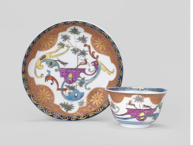 A Meissen teabowl and saucer, circa 1725-30