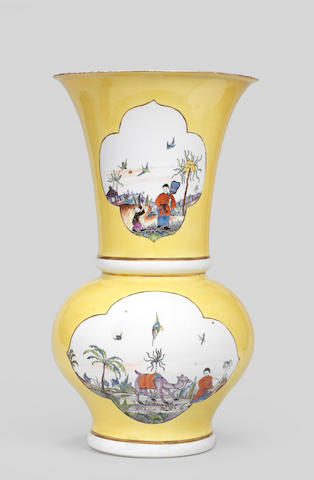 A very rare Meissen yellow-ground Augustus Rex vase, circa 1730-35