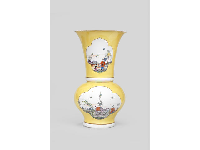 A very rare Meissen yellow-ground Augustus Rex vase, circa 1730-35