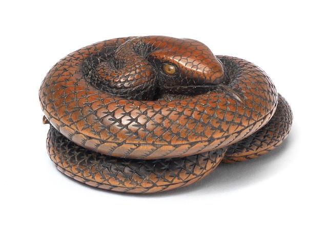 A rare wood netsuke of a snake By Toyokazu, Tanba, 19th century