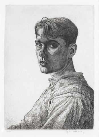 Edgar A. Holloway (British, born 1914) Self Portrait No.6 Etching with tone, 1932, on laid, signed and numbered 36/50 in pencil, 225 x 160mm (8 7/9 x 6 1/4in)(PL)