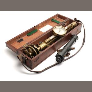 A 19th century brass surveyor's level in wooden box