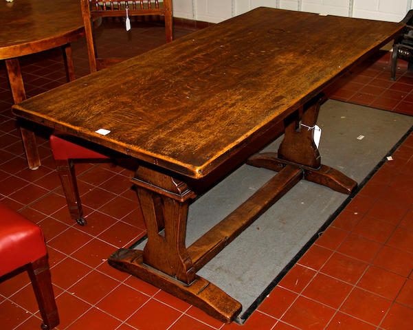 A 20th Century oak refectory table,
