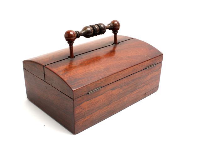 A Victorian rosewood desk set