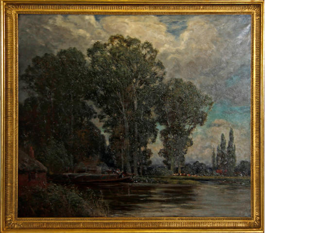 19th Century English School River landscape with barge
