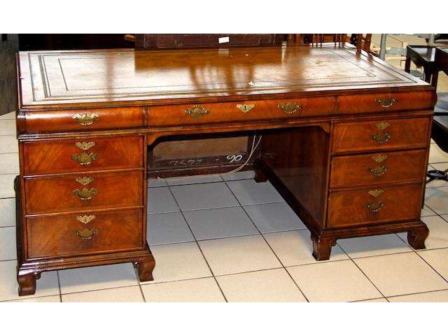 A George III style walnut pedestal deskdesk  169 x 86cm