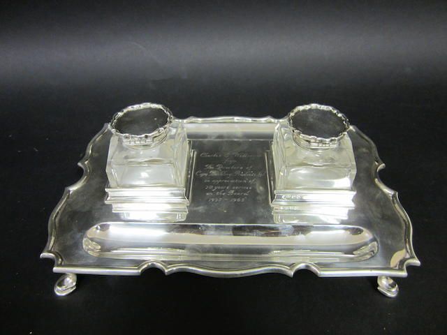 A silver deskstand by C & S Co, London 1914