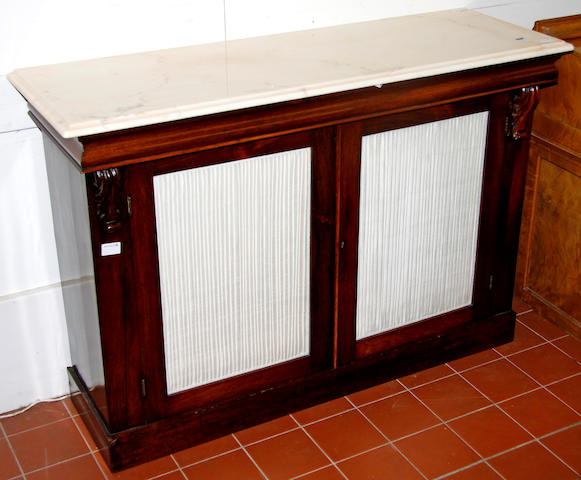 A Victorian rosewood and later marble top chiffonier,