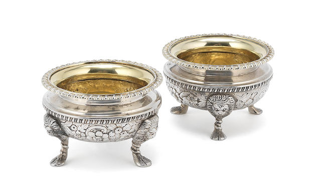 Pair of Irish silver salt dishes together with a pair of sugar sifters (4)