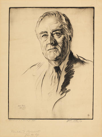 Walter Ernest Tittle (American, 1883-1960) Portrait of Franklin D. Roosevelt Drypoint, 1944, on wove, signed and inscribed 'Warmest regards to David from Walter' in pencil, 300 x 225mm (11 3/4 x 8 7/8in)(PL)