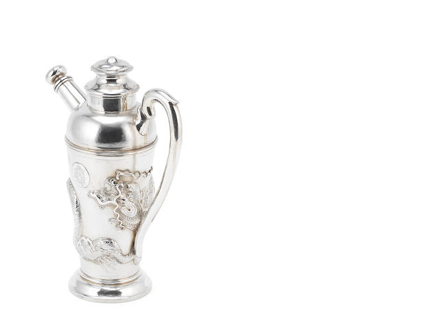 A Chinese export silver cocktail shaker