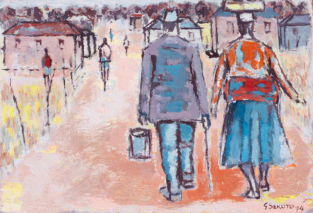 Gerard Sekoto (South African, 1913-1993) Man and woman on a township street