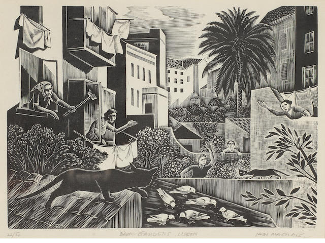 Iain MacNab (British, 1890-1967) Back Gardens, Lisbon (Garrett 20) Wood engraving, 1959, on thin oriental laid, signed, titled and numbered 22/50 in pencil, with margins, 155 x 219mm (6 x 8 5/8in) (B)