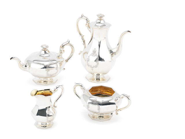 A Victorian silver four-piece tea and coffee service, Birmingham 1855