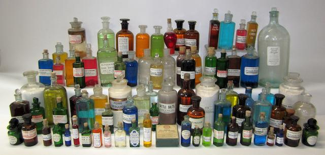 A collection of chemist's jars and medicine bottles,