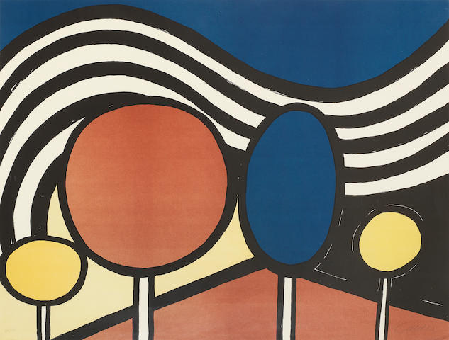Alexander Calder (American, 1898-1976) Lollipops Lithograph printed in colours, 1976, on wove, signed and numbered 52/125 in pencil, the full sheet, 690 x 925mm  (27 1/8 x 36 3/8in)(SH)