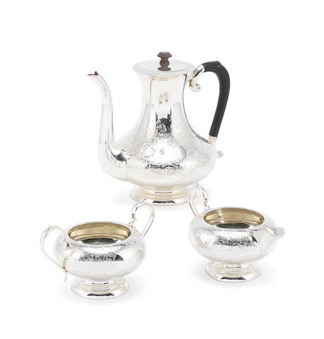 A silver three-piece tea service by Charles S Green & Co Ltd, Birmingham 1926 / 1927  (3)