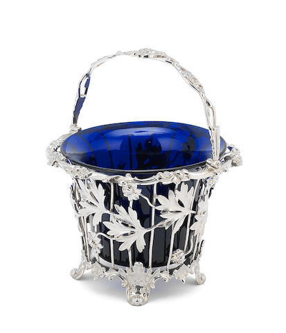 A Victorian silver swing-handle sugar basket by Edward John & William Barnard, London 1849