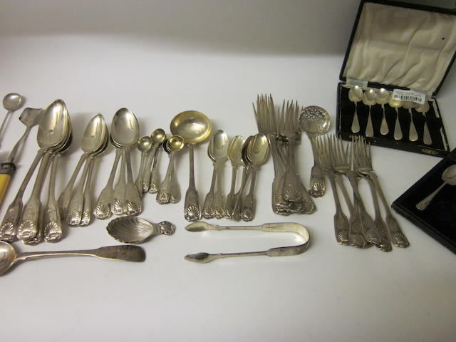 A composite silver Fiddle, Thread and Shell pattern canteen of flatware London various dates and makers,    (Qty)
