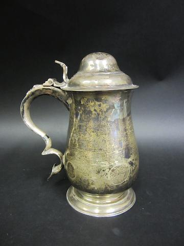 An George III silver lidded tankard  London 1768