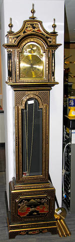 A modern black and gilt chinoiserie decorated longcase clock