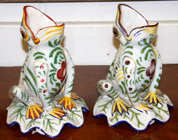 Two Mosanic faience pottery frogs, early 20th Century