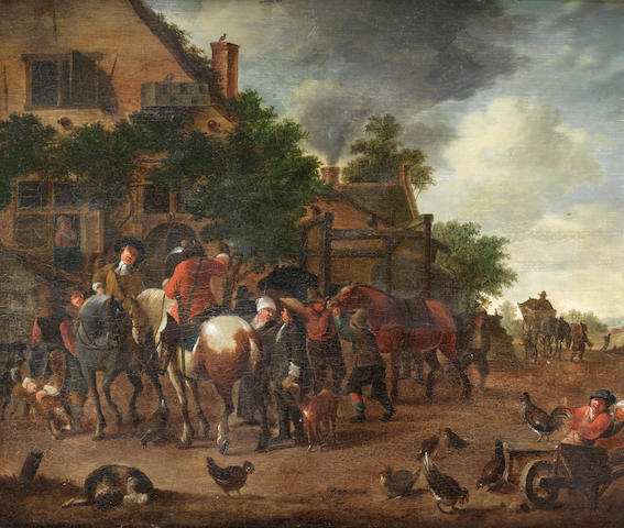 Dutch School, circa 1800 Huntsmen and their dogs before a village inn